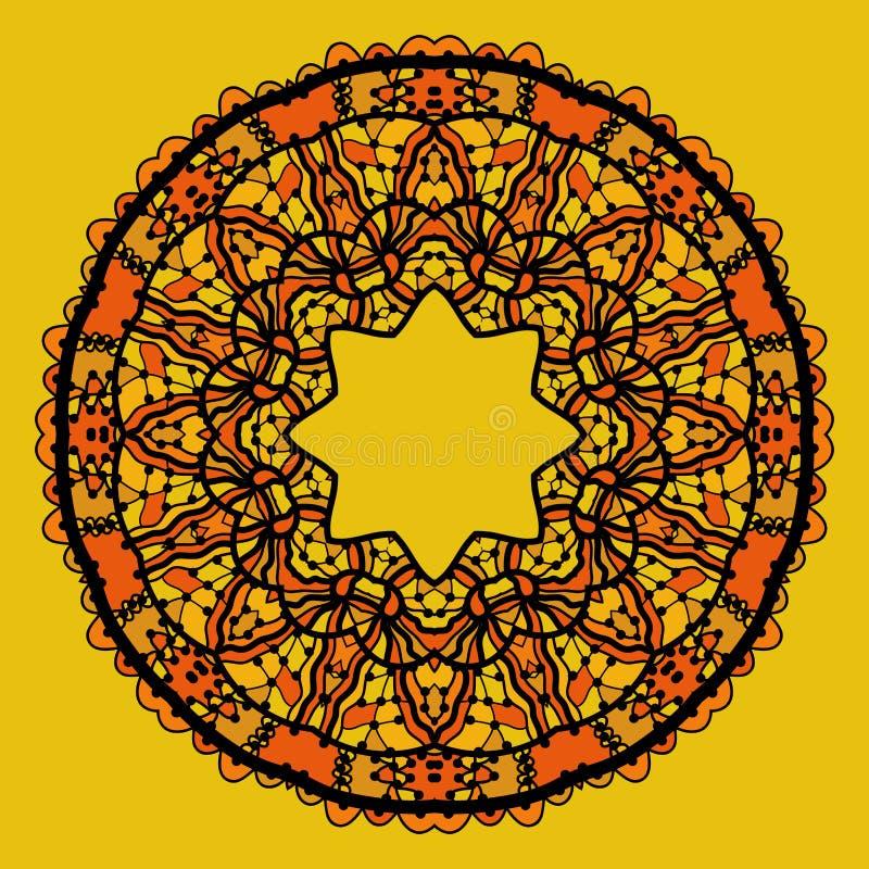 Rundan snör åt patterdmandalaen som design i guling stock illustrationer