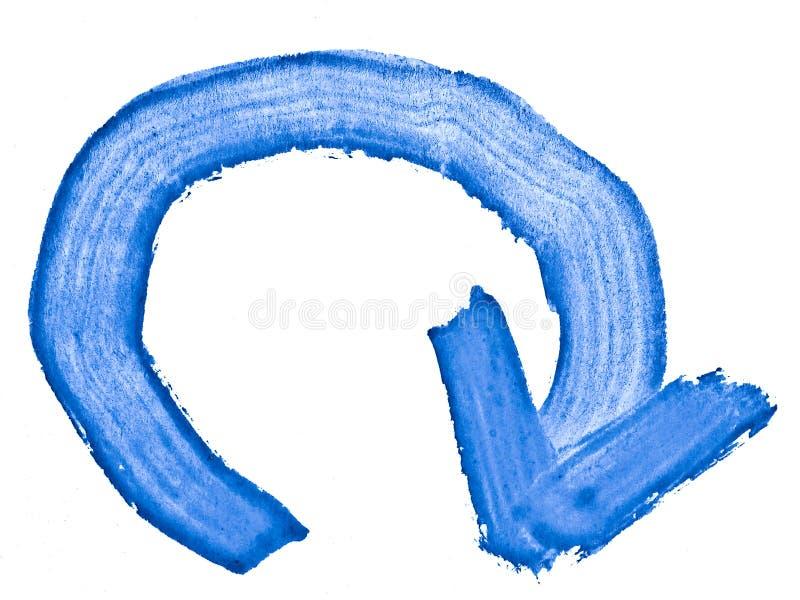Rundat ner pil, baksida, vattenfärg som hand-målas med en grov borste stock illustrationer