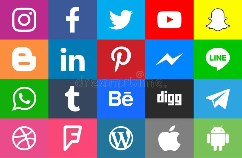 Rundat socialt massmedia och colorfull vektor illustrationer