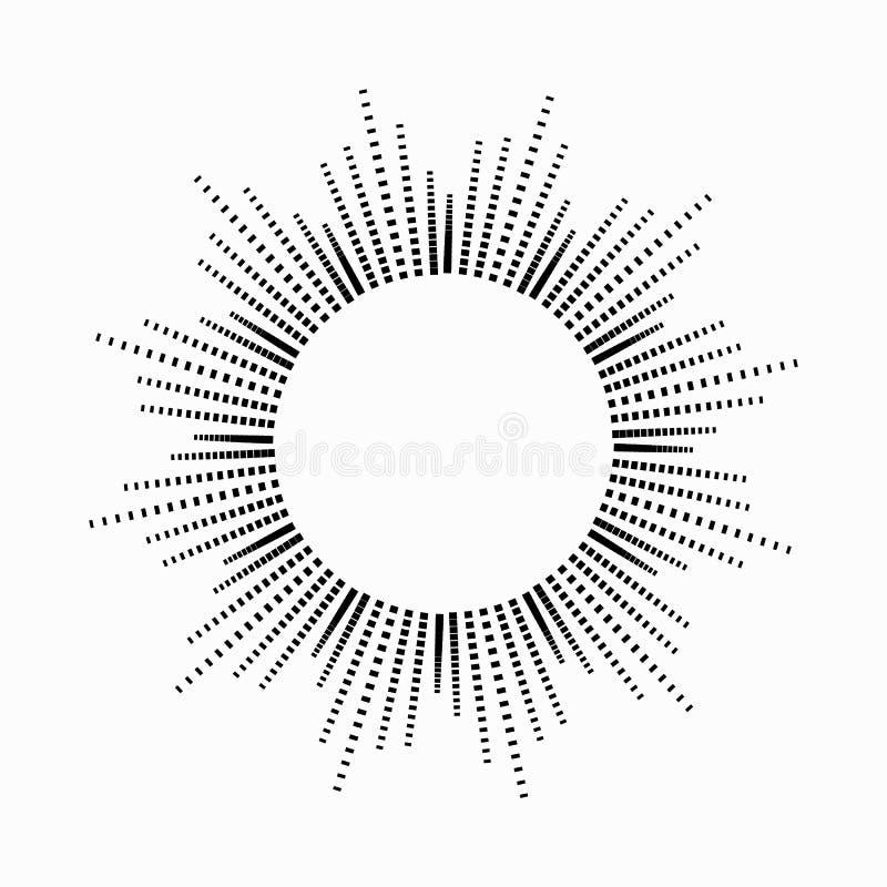 Runde abstrakte Entzerrermusik in Form der Sonne mit Strahlen Symbol, Monochrom, Ikone Einfach zu bearbeiten vektor abbildung