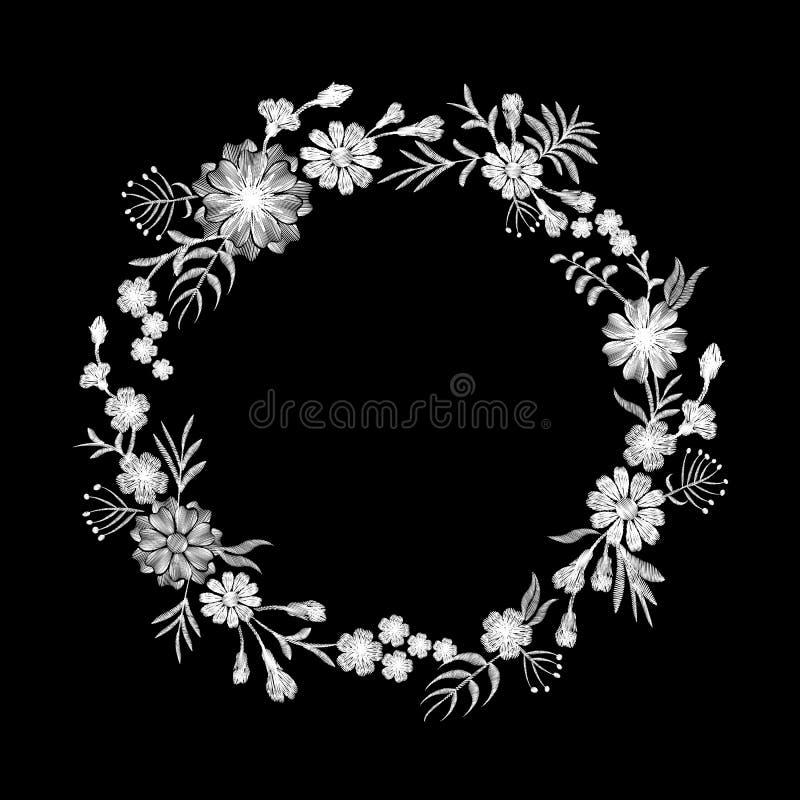 Runde Anordnung der schwarzen mit Blumenstickerei des weißen Gänseblümchens Blumenverzierungsmode-Textildekoration der Weinlese v lizenzfreie abbildung