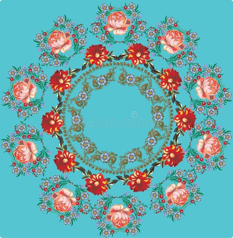 Runde Auslegung der roten Rosen auf Blau lizenzfreie abbildung