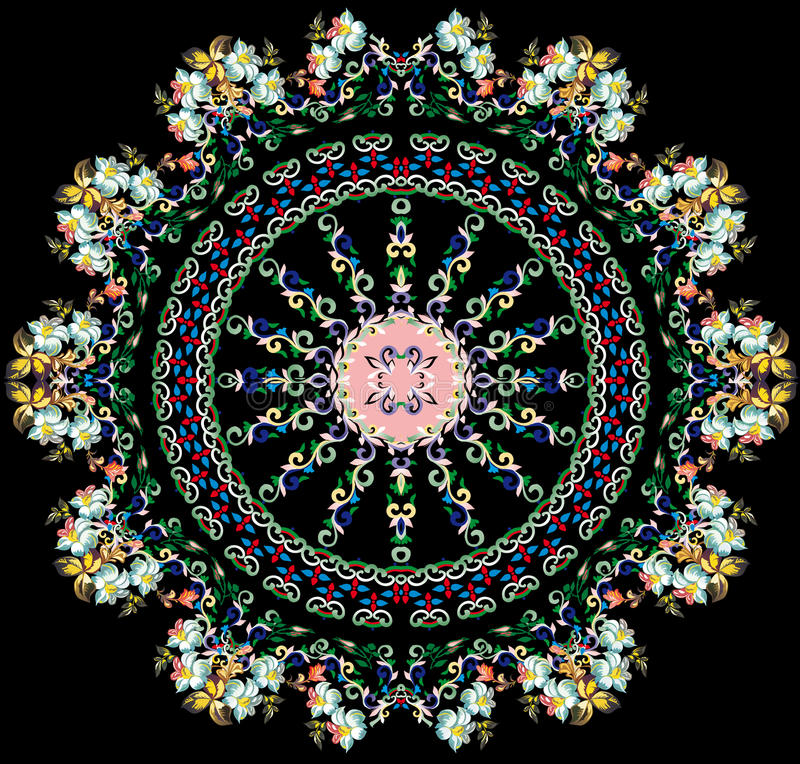 Runde Auslegung mit hellen Blumen stock abbildung