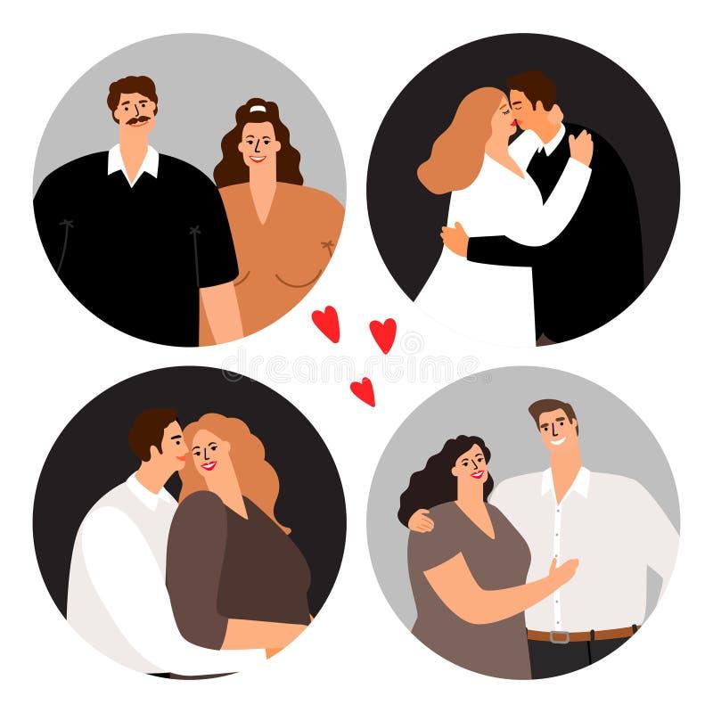 Runde Avataras der Liebespaare lizenzfreie abbildung