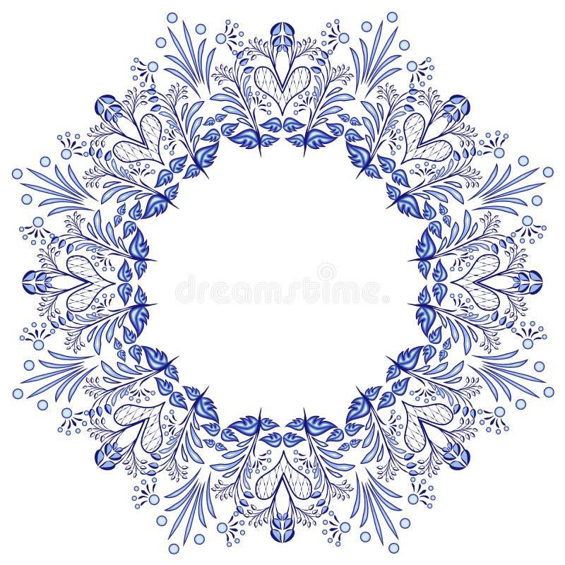 Runde Blumenrahmen gzhel Art lokalisiert auf Weiß Blaues Blumenmuster stock abbildung