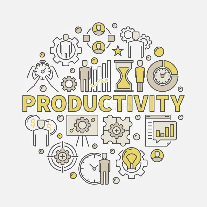 Runde bunte Illustration der Produktivität vektor abbildung