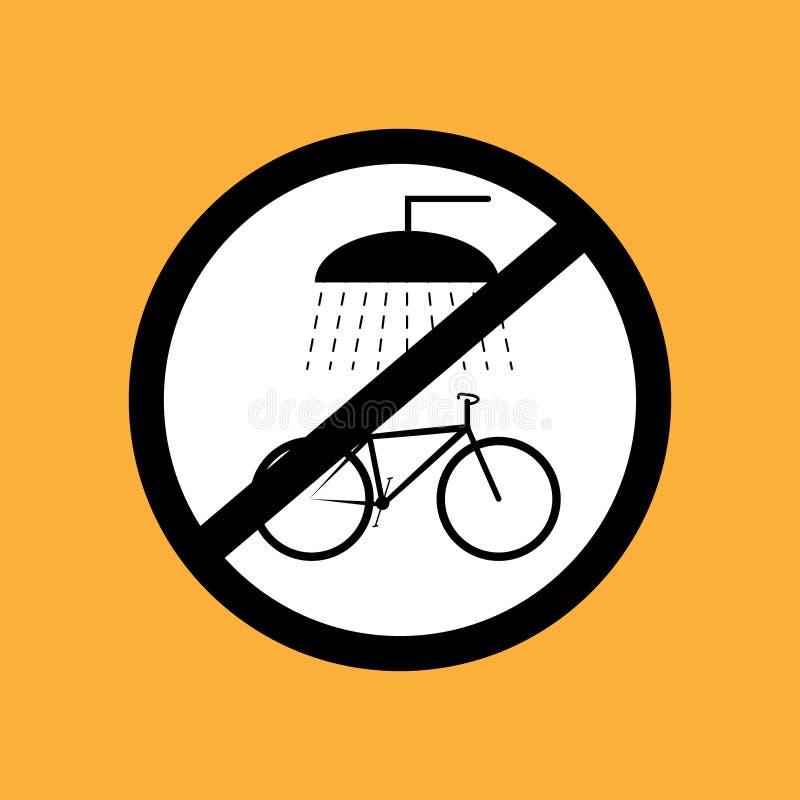 Runde Fahrradikone waschen nicht das Fahrrad, schwarze dünne Linie auf weißem Hintergrund - Vektorillustration vektor abbildung