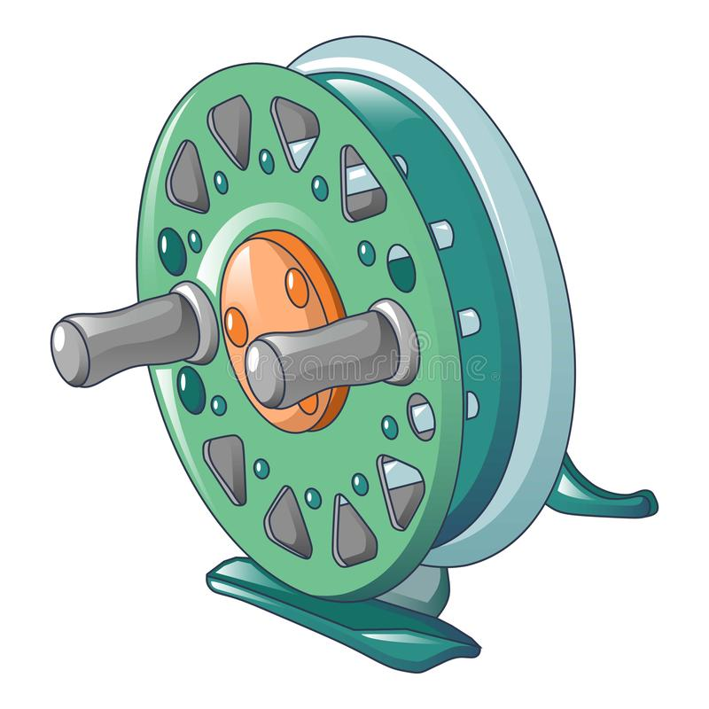 Runde Fischereispulenikone, Karikaturart lizenzfreie abbildung