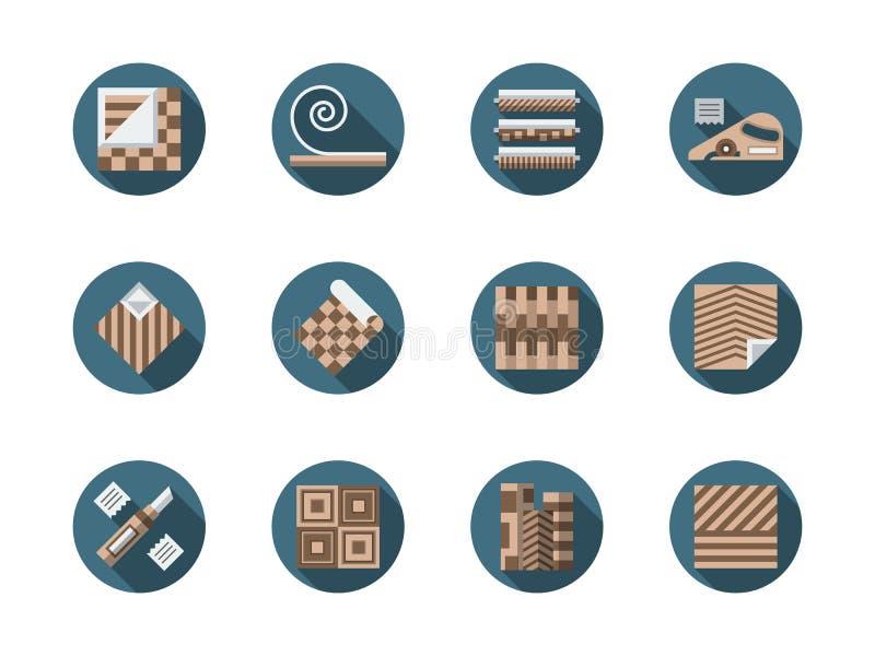 Runde flache Ikonen des Linoleumspeichers eingestellt stock abbildung