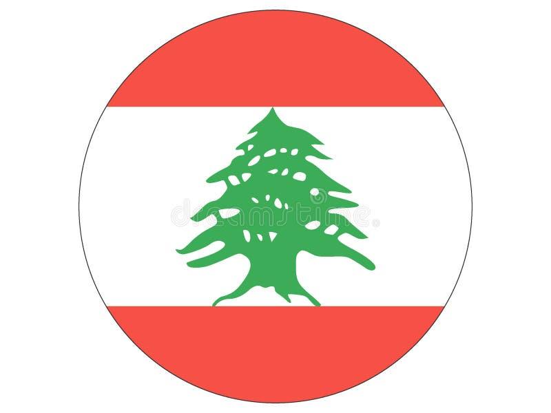 Runde Flagge vom Libanon vektor abbildung
