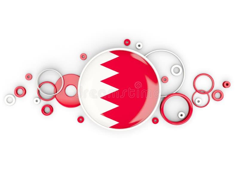 Runde Flagge von Bahrain mit Kreismuster lizenzfreie abbildung