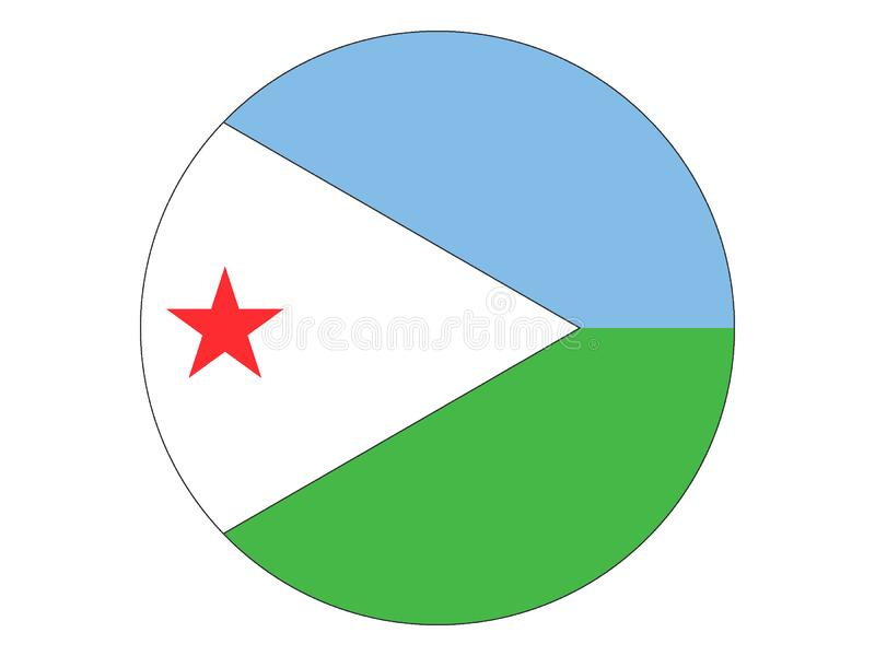 Runde Flagge von Dominica stock abbildung