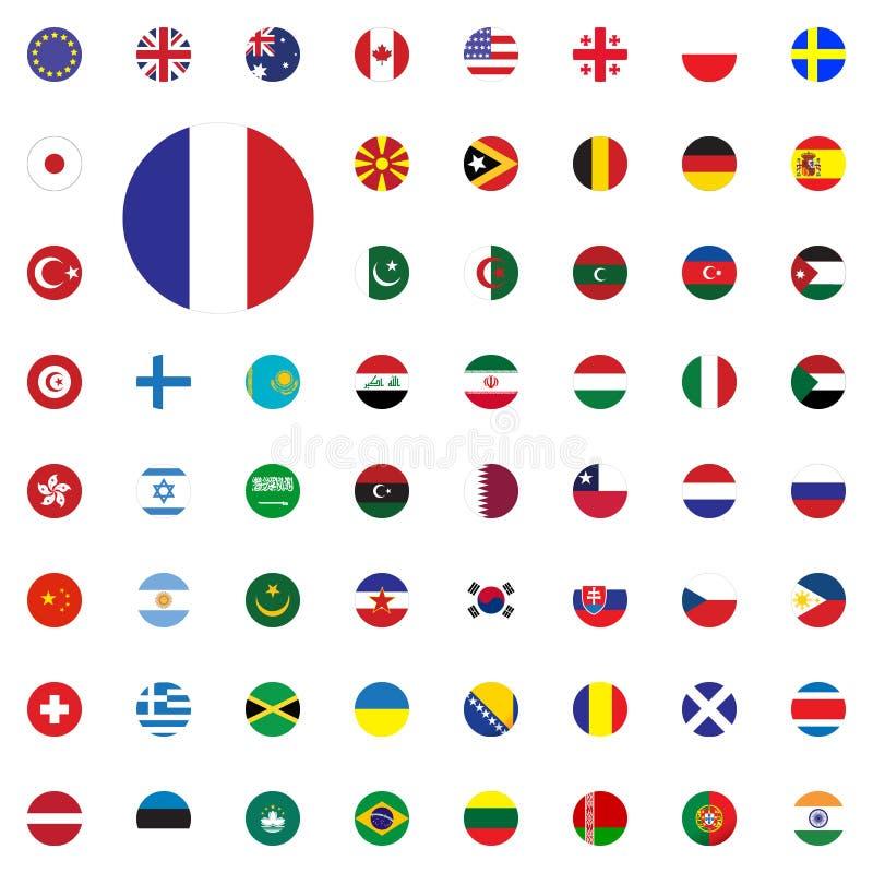 Runde Flaggenikone Frankreichs Runde Weltflaggen-Vektorillustration Ikonen eingestellt lizenzfreie abbildung