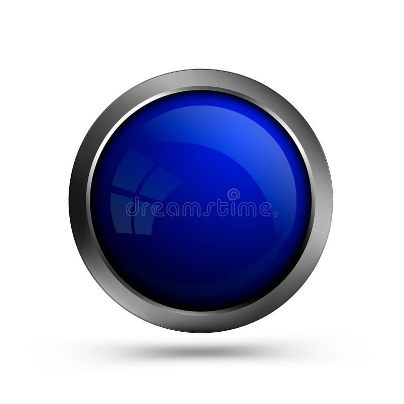 Runde Form des blauen modischen Glasknopfes vektor abbildung