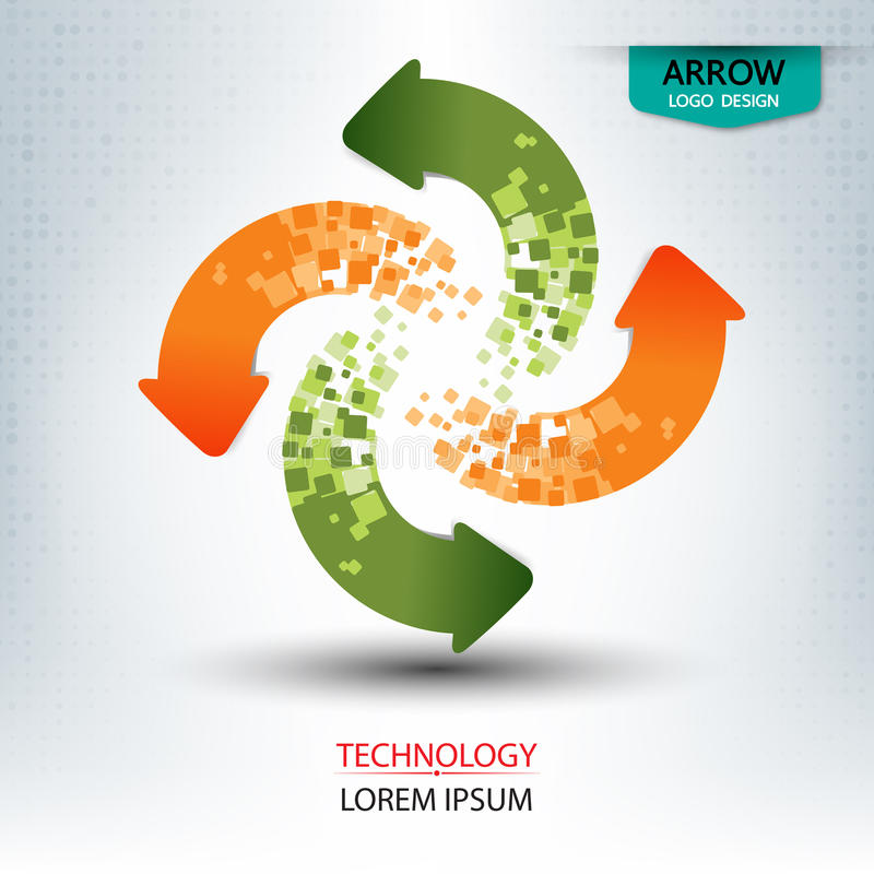 Runde Form des Pfeillogodesigns stock abbildung