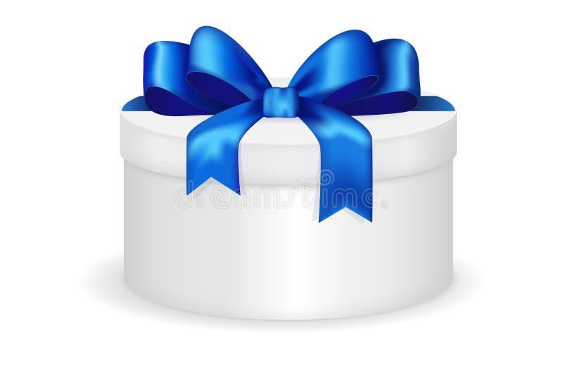 Runde Geschenkbox mit blauem Bogen lizenzfreie abbildung
