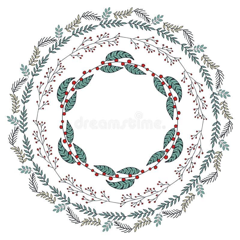 Runde Girlande mit Jahreszeitblumen lizenzfreie abbildung