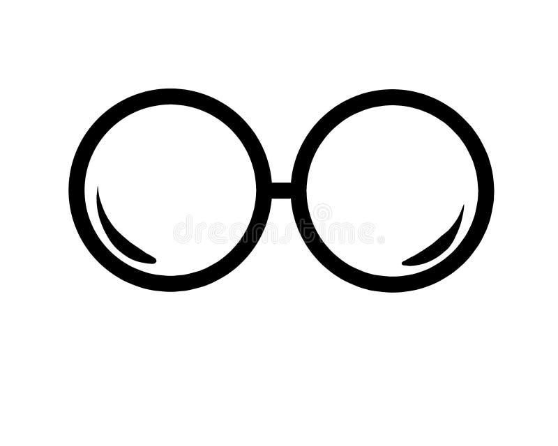 Runde Gläser, Brillen, gestaltet Illustrationen auf lokalisiert lizenzfreies stockbild