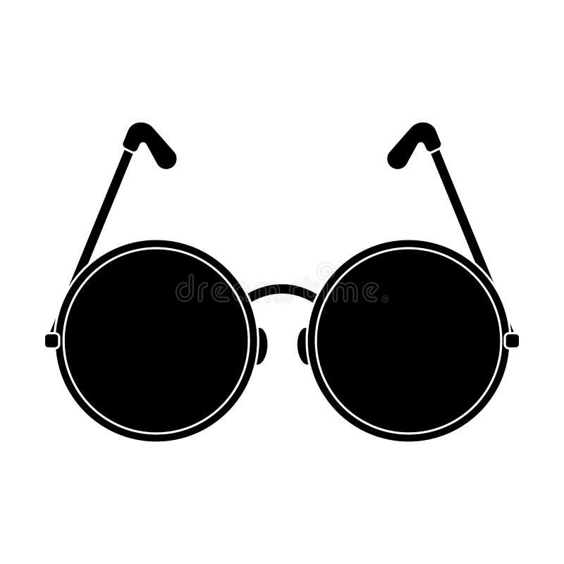 Runde Gläser in einem rosa Rahmen Einzelne Ikone der Hippie im schwarzen Artvektorsymbolvorrat-Illustrationsnetz stock abbildung
