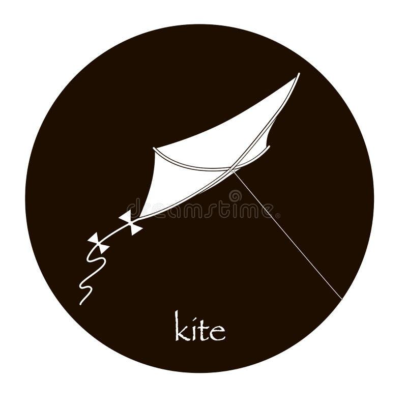 Runde Ikone des flachen Schwarzweiss-Drachenlogos vektor abbildung