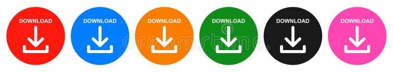 Runde Ikone des Knopfes sechs des Vektordownloads Farb lizenzfreie abbildung