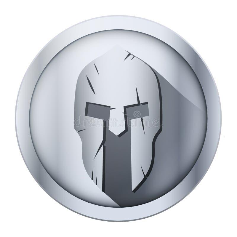 Runde Ikone des spartanischen Sturzhelms mit Kratzern von stock abbildung