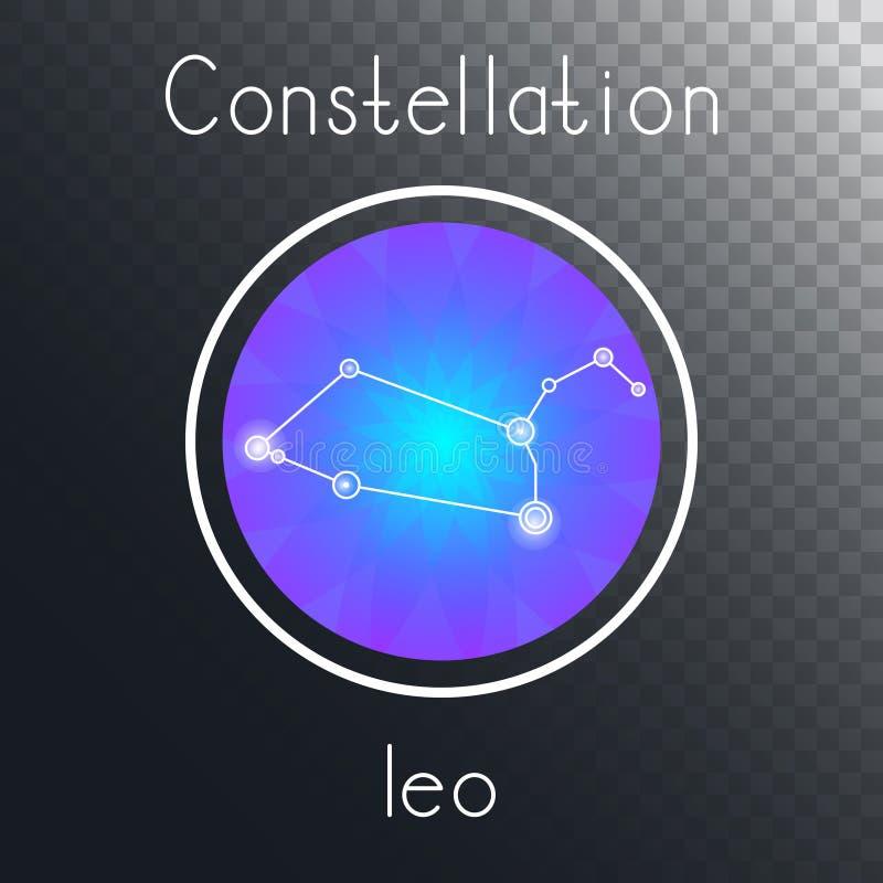 Runde Ikone des Vektors mit Tierkreiskonstellation LÖWE lizenzfreie abbildung