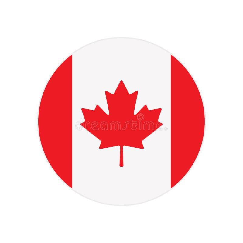 Runde Ikone, Knopf oder Ausweis mit nationaler Kanada-Flagge lokalisiert auf weißem Hintergrund lizenzfreie abbildung
