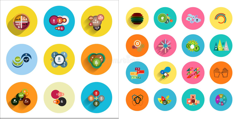 Runde Ikonen mit geometrischen infographic Schablonen stock abbildung
