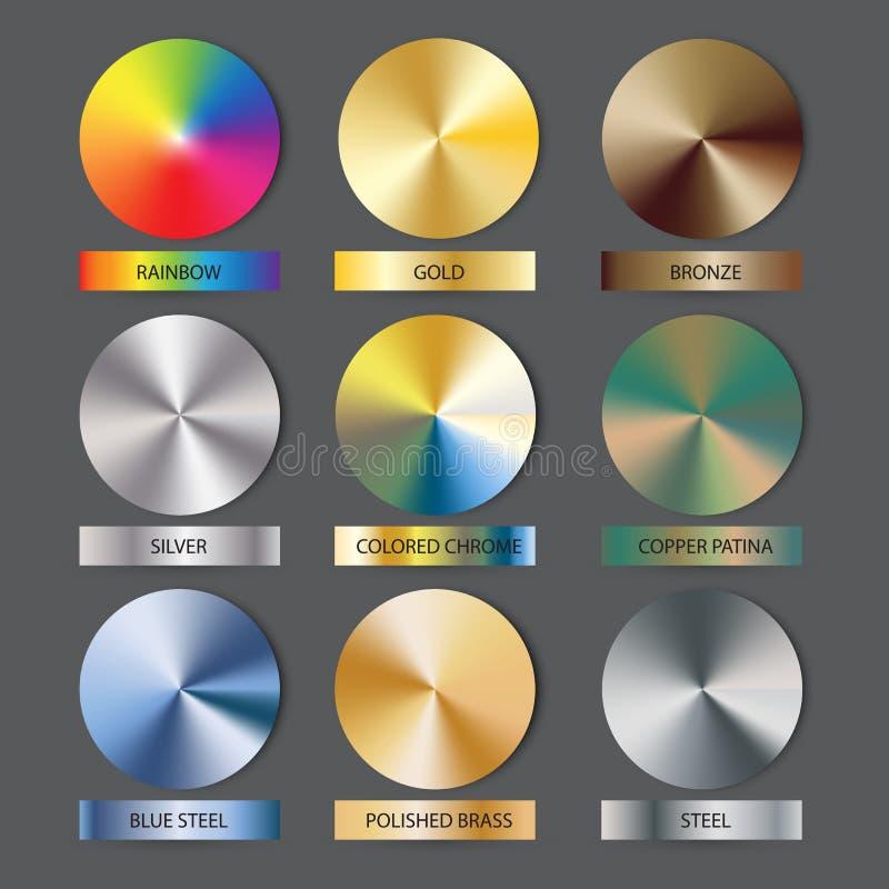Runde Kegelmetallsteigungen eingestellt Vektorillustration für Designer Maschengitter stock abbildung