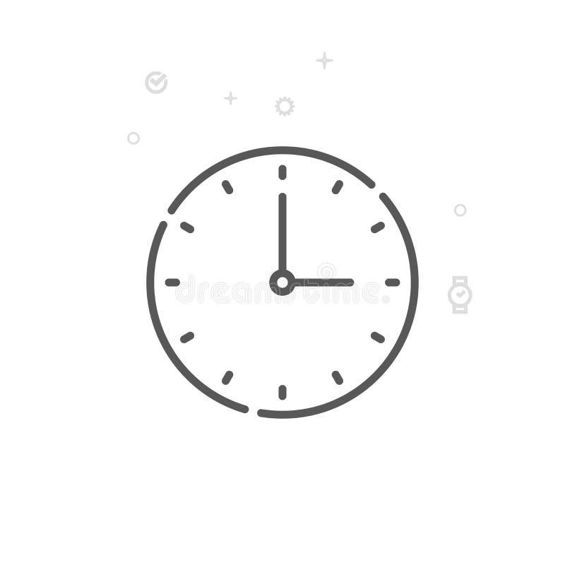 Runde klassische Wanduhr-Vektor-Linie Ikone, Symbol, Piktogramm, Zeichen Heller abstrakter geometrischer Hintergrund Editable Ans stock abbildung