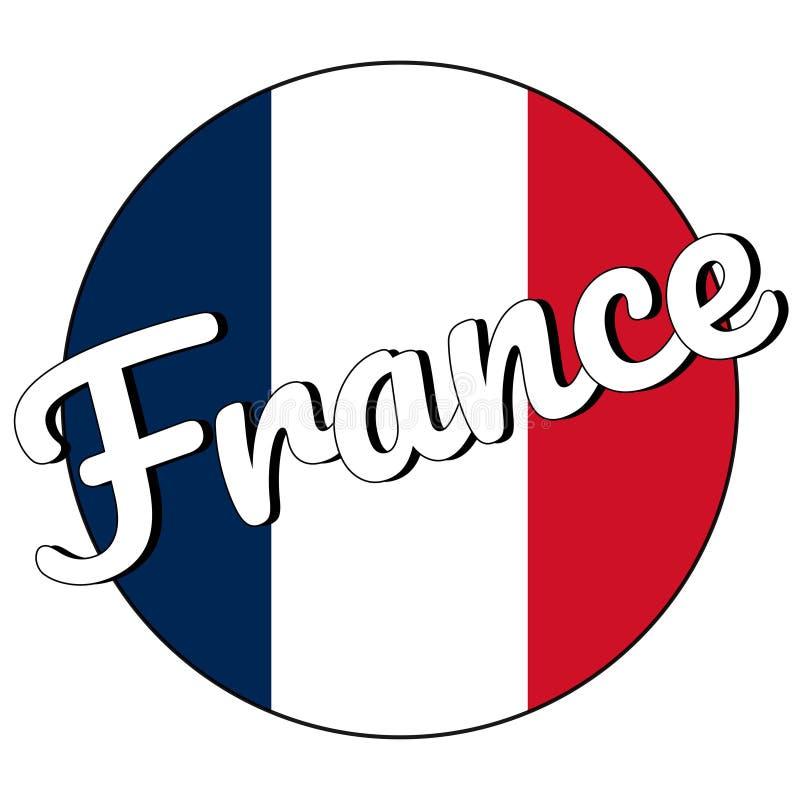 Runde Knopf Ikone der Staatsflagge von Frankreich mit den roten, weißen und blauen Farben und der Aufschrift in der modernen Art  vektor abbildung