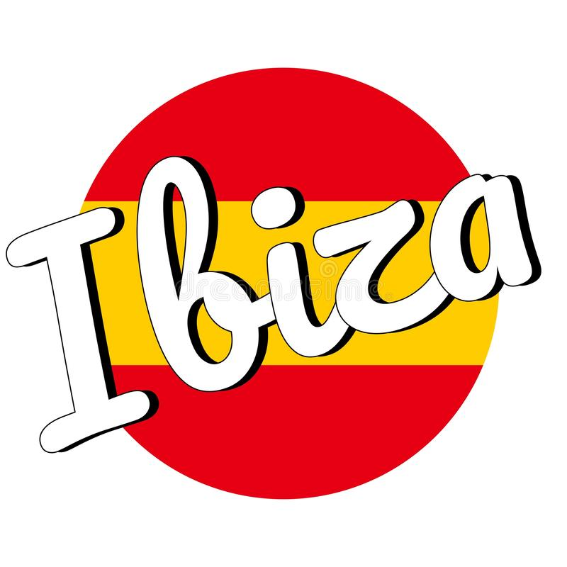 Runde Knopf Ikone der Staatsflagge von Spanien mit den roten und gelben Farben und der Aufschrift des Stadtnamens: Ibiza in moder lizenzfreie abbildung