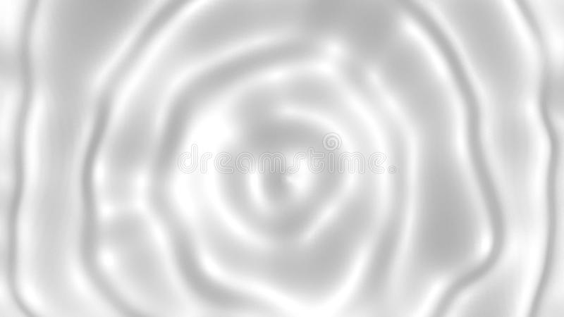 Runde Kräuselungen auf weißer flüssiger Oberflächen-, Milch- oder Cremebeschaffenheit, Illustration der Wiedergabe 3d, Abstraktio stock abbildung