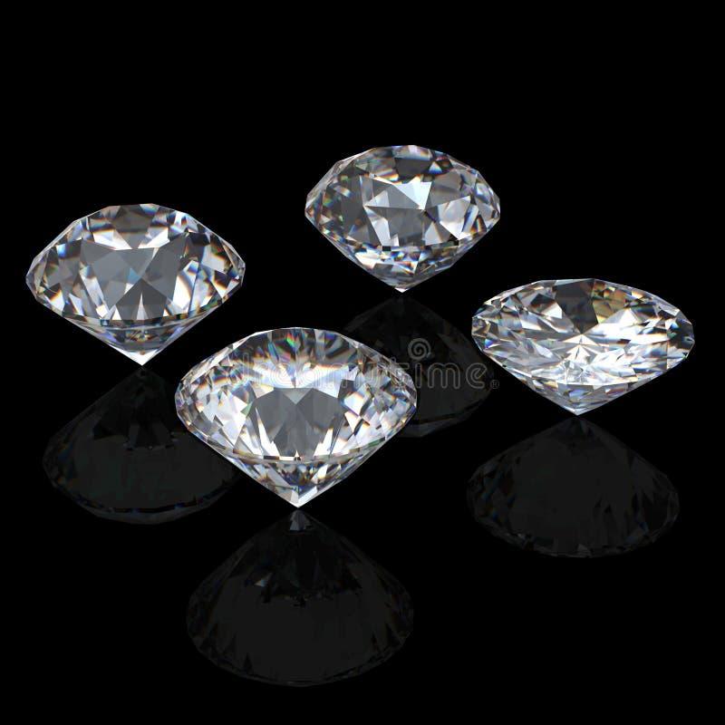 runde leuchtende Diamantperspektive des Schnittes 3d lizenzfreie abbildung