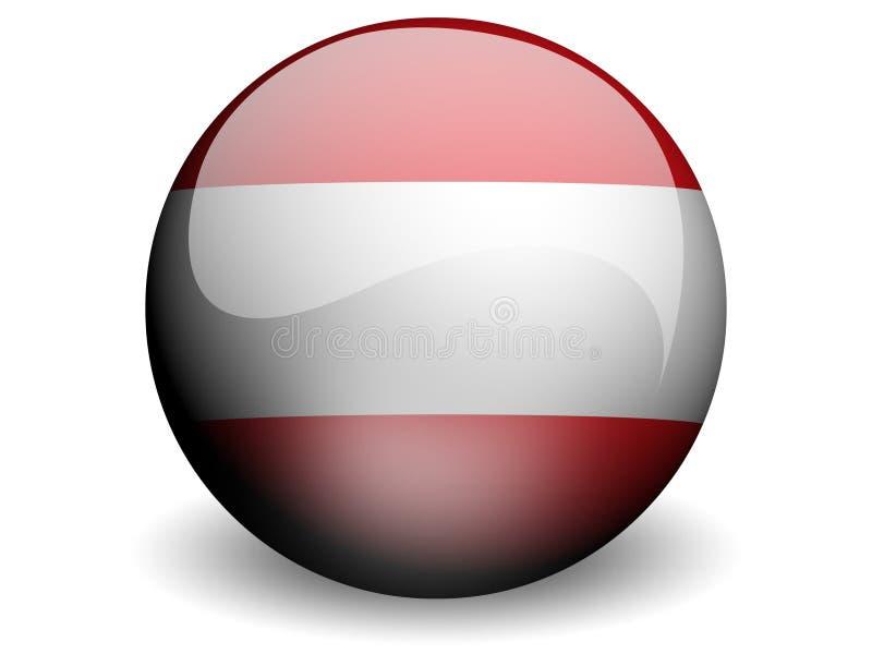 Runde Markierungsfahne von Österreich vektor abbildung