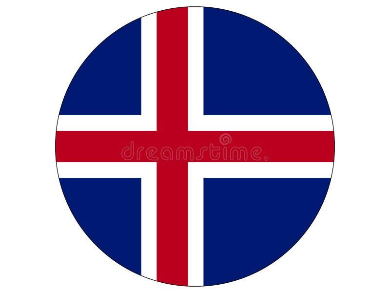 Runde Markierungsfahne von Island vektor abbildung