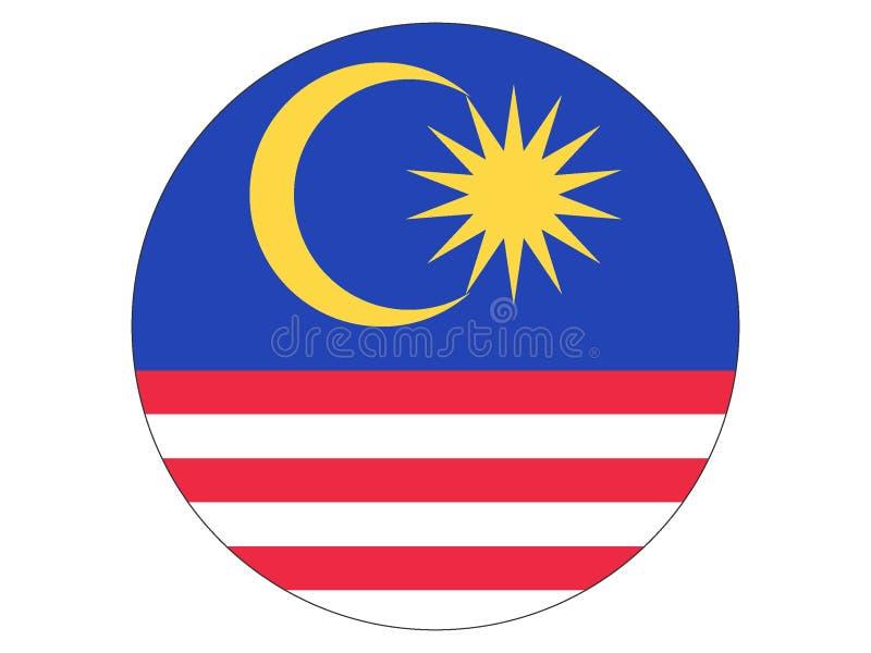Runde Markierungsfahne von Malaysia lizenzfreie abbildung