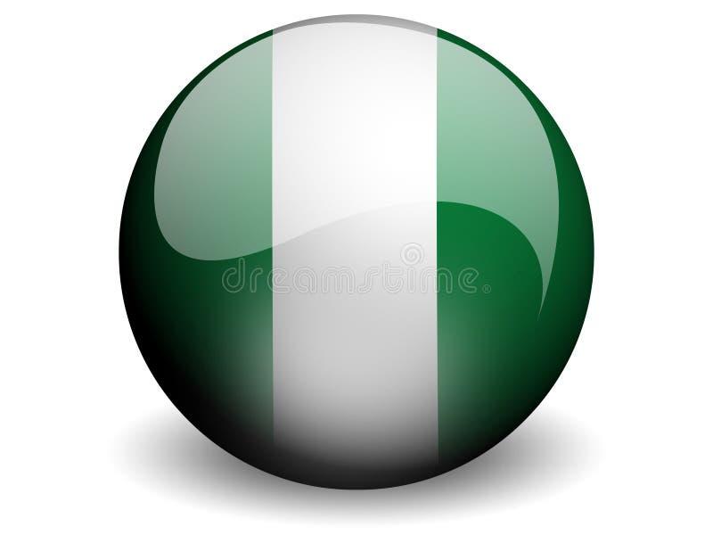 Runde Markierungsfahne von Nigeria stock abbildung