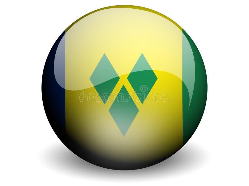 Runde Markierungsfahne von Str. Vincent u. die Grenadinen lizenzfreie abbildung