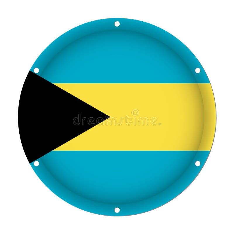 Runde metallische Flagge von Bahamas mit Schraubenlöchern lizenzfreie abbildung