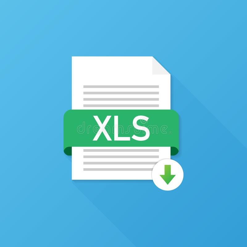 Runde metallische Knöpfe Downloadingdokumentenkonzept Datei mit XLS-Aufkleber und unten Pfeilzeichen Auch im corel abgehobenen Be vektor abbildung