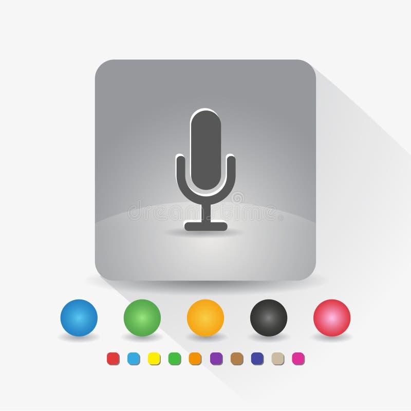 Runde metallische Kn?pfe Zeichensymbol App in der runden Ecke der grauen quadratischen Form mit langer Schattenvektorillustration stock abbildung