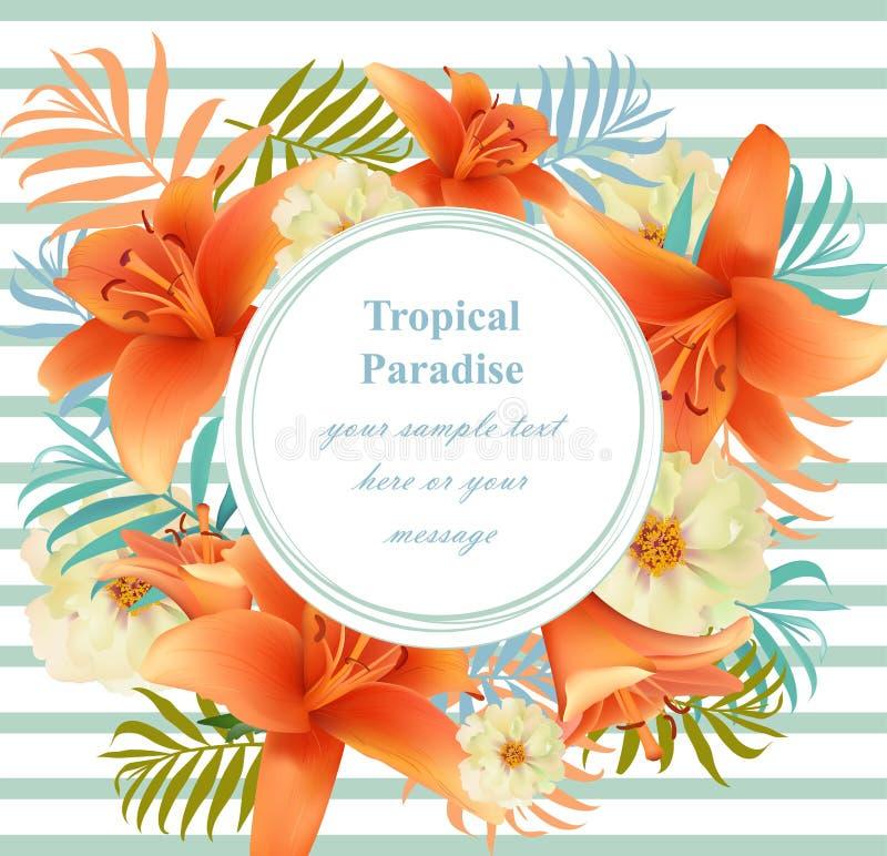 Runde Mit Blumenkarte Des Tropischen Vektors Summerl ...