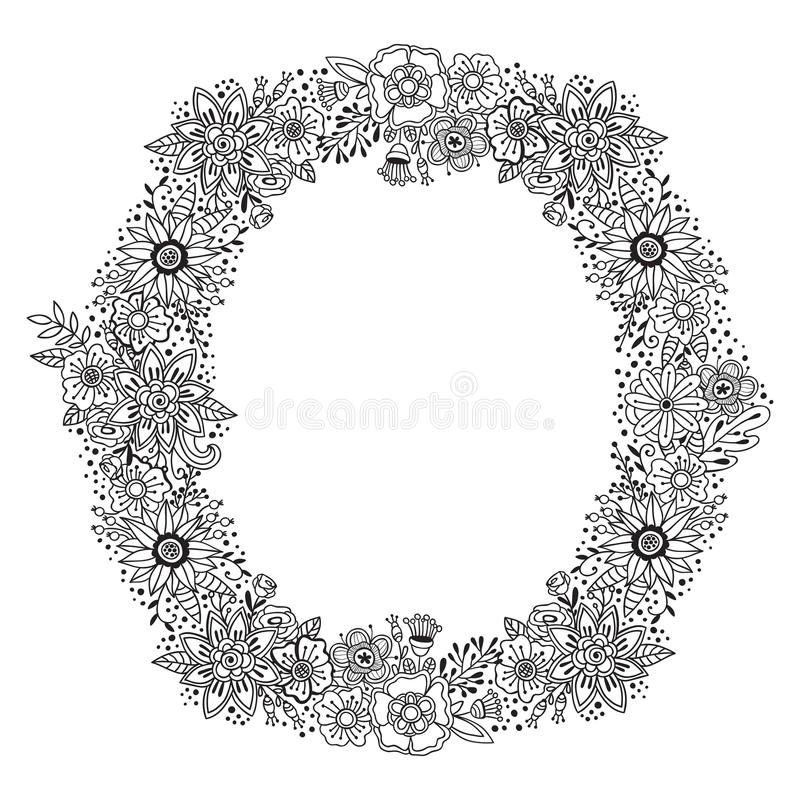 Runde mit Blumenverzierung mit Schwarzweiss-Dekorationskranzrahmen Sommer oder die lokalisierten Herbstblumen und -kräuter entwer vektor abbildung