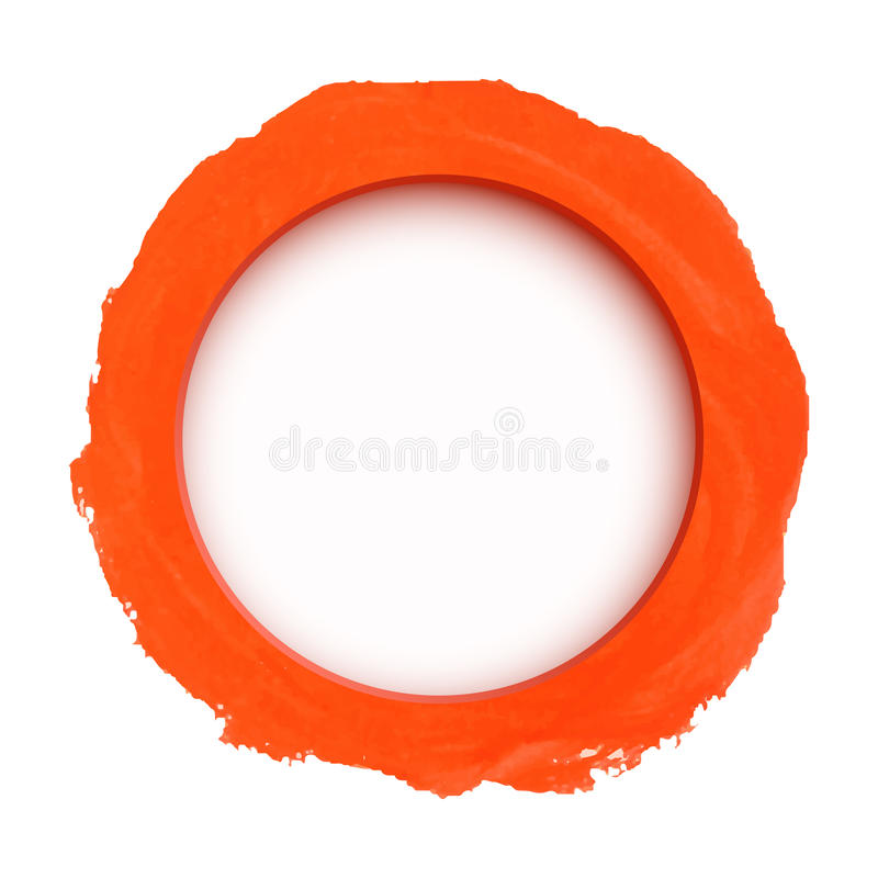 Runde orange Aquarellfahne stock abbildung