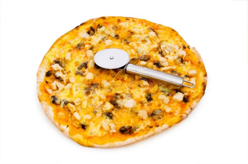 Runde Pizza getrennt stockbild