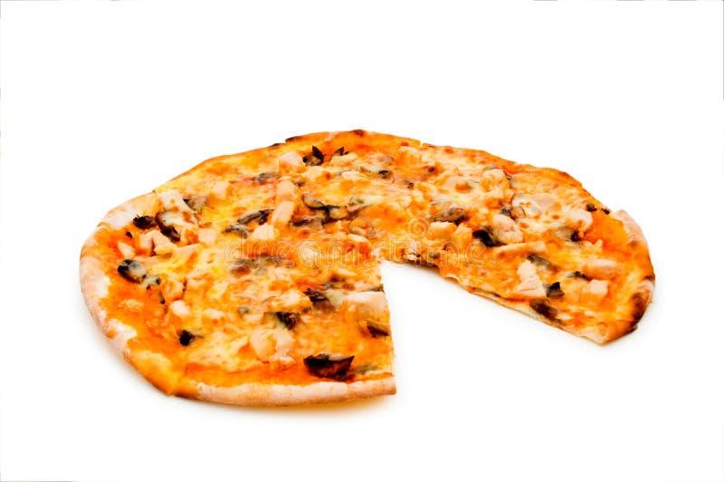 Runde Pizza getrennt lizenzfreie stockbilder