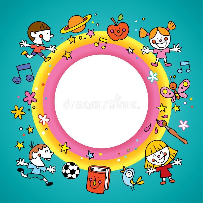 Runde Rahmengrenze mit Gruppe Kindern lizenzfreie abbildung