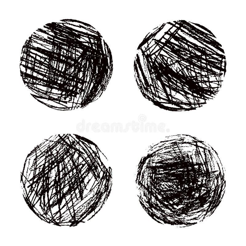 Runde schwarze Formen des Zeichenstifts Farbeingestellt Wie Kind-` s streicht gezeichnete Kunst abstrakte runde Gestaltungselemen stock abbildung
